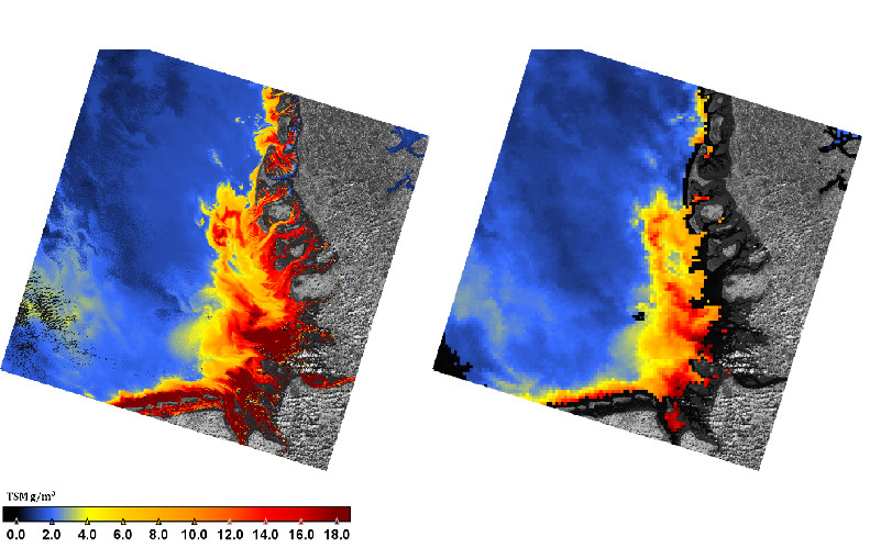 TSM concentration (g/m³) derived from Landsat8 (left) and MODIS (right)